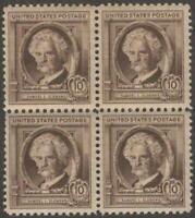 Scott # 863 - US Block Of 4 - Samuel Clemens - MNH-OG -1940