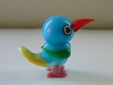 Whimsical Small Lampwork Art Glass Blue Yellow Pink Orange Green Bird Figurine
