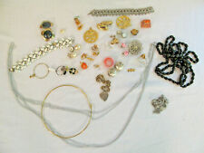 Lot of Costume Junque Junk Jewelry Costume Some Wearable or Crafts 40 Pieces