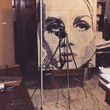 DIPINTO STREET ART POP ART ORIGINALE TWIGGY INCHIOSTRO ACQUERELLO RITRATTO ARTE