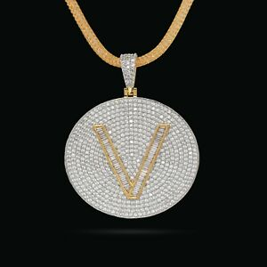 """14k Gold Plate Ice Out Lab Diamond Initial Latter Necklace 2"""" Inch Round Circle"""