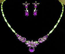 Austrian Crystal Flower Necklace Earrings Bridesmaid Bridal Wedding Prom Set