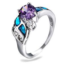 Blue Fire Opal & Amethyst Women Jewelry Gemstone Silver PLATED Ring Size 8 RM04