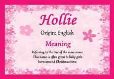 Hollie Personalised Name Meaning Certificate