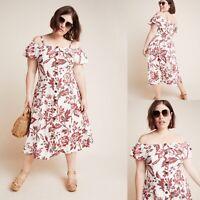 New $160 Anthropologie Plus Midi Dress 24W Floral Linen Stretch Off Shoulder