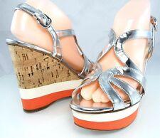 NIB $890 PRADA Metallic Leather Contrast Wedge Cork Sandals Women's 7 -7.5 37.5