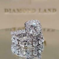 Elegant Women 925 Silver Wedding Rings White Sapphire Diamond Ring Set Size 6-10