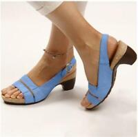 Women Block Med Heel Slip On Slingbacks Sandals Open Toe Casual Solid Lady Shoes