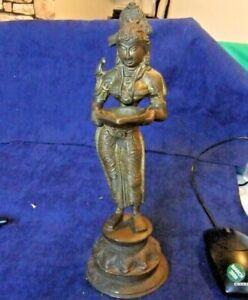 "Antique Asia Indian Siam or Tibet cast metal figurine Lakshmi? 10"" with 'Chiraq'"