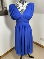 Reiss Size 8 Blue Chiffon Grecian V Neck V Back Layered Floaty Knee Length Dress