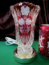 CRANBERRY CUT TO CLEAR Crystal Vase Night Light Lamp FLOWERS & MORE Brass Plate!