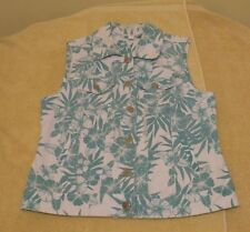 Roz & Ali Size M Button Front Turquoise & White Floral Vest, sleeveless, pockets