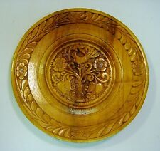 """1920's Art Deco Hand Carved Turned Wooden Charger Plate Signed - 8.25"""" Diameter"""