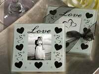2 pack White Glass Coasters Black Hearts photo frame holder wedding bomboniere
