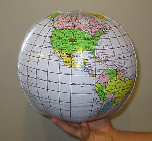 2 NEW INFLATABLE WORLD GLOBES BEACH BALL INFLATE EARTH MAP TEACHER AID GEOGRAPHY