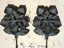New listing Cast Iron Metal Set/2 Coat Robe Bath Towel Wall Flower Hook Home Garden Decor