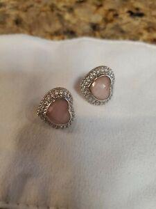Judith Ripka Pink Quartz/White Sapphire/Crystal Earrings 925 sterling silver
