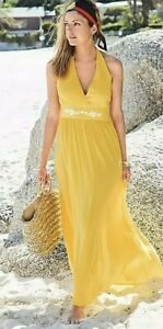 BNWT Kaleidoscope Halter Neck Crinkle Beach Maxi Dress Yellow Size UK 16