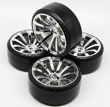 4 PCS SILVER Samurai Wheel Rim +Hard Plastic Drift Tires FOR 1/10 RC On Road Car