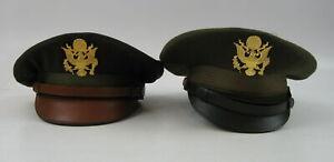 2 WW2 US Army Air Corps Officer Crusher Visor Caps BALFOUR Emb Sz 7 1/4  & 7 1/2