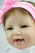 """22""""Realistic Reborn Baby Doll Girl Silicone Vinyl Soft /Magnetic pacifier"""