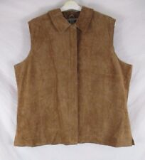 Jessica Holbrook Womens Suede Leather Vest Brown Sz 2X Zip Sleeveless CC485