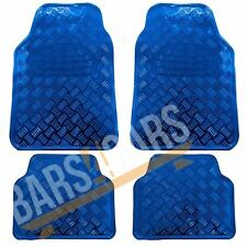 Shiny Blue Effect Checker Design Chrome Look Car Rubber Floor Mats Heavy Duty