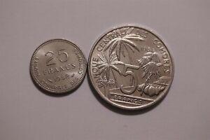 COMORES 25 FRANCS 1982 + 5 FRANCS 1984 B34 T8