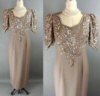 JOVANI Brown/Beige Sequin Floral Formal Gown 12 MOTHER OF THE BRIDE Dress *1008