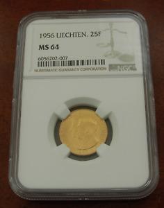 Liechtenstein 1956 Gold 25 Franken NGC MS64