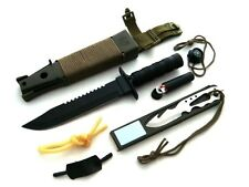 Survival Knife Gürtelmesser mit Überlebensausrüstung BLACK Messer Jungle King
