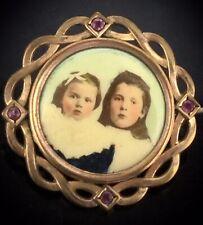 Victorian Rubies Brooch Pin Rolled Gold Impressive Keepsake Photos Circa1860s