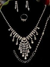 White Crystal Rhinestone Silver Bridal Necklace,  Earring,Ring & Bracelet