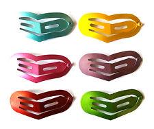 24 pcs - Cute Heart Hair snap clip 45 x 17 mm Mix Metallic color