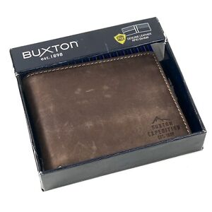 Buxton Men's Expedition RFID Blocking Leather Slimfold - Brown