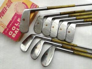 RARE vintage BURR KEY BULT GOLF IRON SET (1-8, putter)*LADY CLASSIC* w/Celluloid