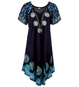 Women Ladies One Size Short Sleeve Dress Beach Summer Sundress fit 12-20