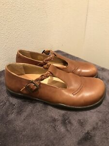 Womens Brown Leather Mary Jane Shoes FOOTPRINTS By BIRKENSTOCK Size 39