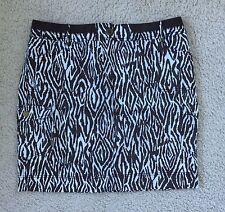 Chicos Skirt Animal Zebra Print Brown Ivory Cotton Blend Cargo Safari Size 2