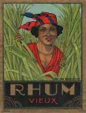 """""""RHUM VIEUX"""" Etiquette-chromo originale vers 1900"""