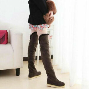 Winter Women's Over The Knee Boots Lined Warm Round Toe Pull On Flat Suede Shoes