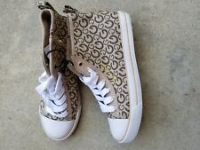 Guess High Top Fashion Sneakers, Taupe,Brown,Khaki, 7 US