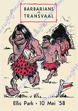 Transvaal v Barbarians, Ellis Park, Jo'burg, 10th May 1958 advertising poster