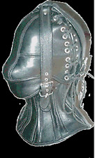 Real leather suffocating mask hood gimp cuir slave air tight kink  halloween