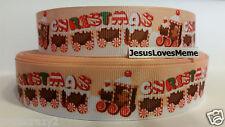 "Grosgrain Ribbon, Merry Christmas Gingerbread Choo Choo Train Peppermint, 1"""