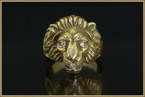 MENS VINTAGE 14K YELLOW GOLD  W/DIAMONDS LION HEAD RING~SIZE 9.5 Weight ~11g