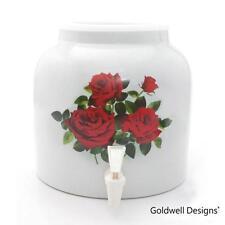 Goldwell Designs® Red Roses Porcelain Water Dispensing Cooler (DD02)