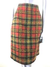 Vtg M&S St Michael Wool Checked Tartan Rust Yellow Black Olive Lined Skirt 14 UK