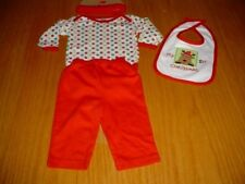 NEW CHRISTMAS REINDEER HAT BIB ONE-Z SHIRT RED PANTS INFANT BABY BOYS 3-6 MO