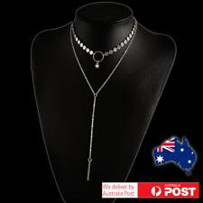 Double Layer Necklace Sequins Tassel Pendant Choker Collar Chain Lariat Bar Star